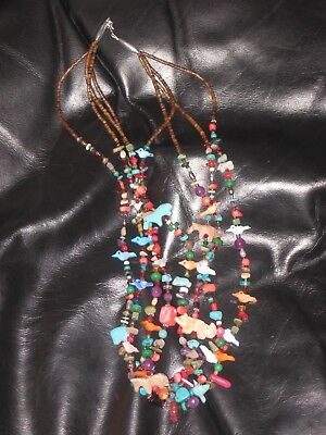 Zuni Effigy Charm Necklace Native American Indian Pueblo Jewelry Turquoise Nice