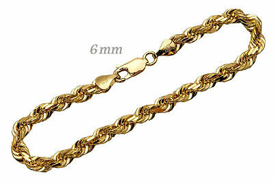 "14k Solid Yellow Gold Rope Chain Necklace 6mm Men's Women Sz 16""-36"""