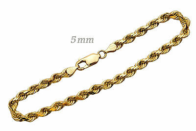 "14k Solid Yellow Gold Rope Chain Necklace 5mm Men's Women Sz 16""-36"""