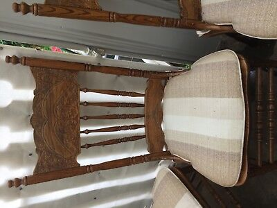 4 beautiful antique solid wooden chairs for dining kitchen or display
