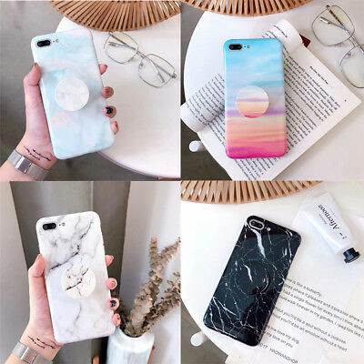Art Marble Phone Case Cover Shell For iPhone 6 6s 7 8 Plus X With POP Up Holder