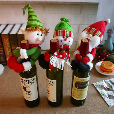 HOT Christmas Santa Snowman Elf Wine Bottle Cover Table Decor Xmas Ornaments NEW