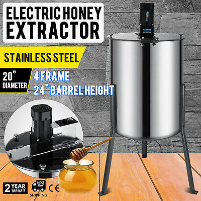 4 Frame Electric Honey Extractor Stainless Steel 3 Steel Legs 2 Clear  Lids