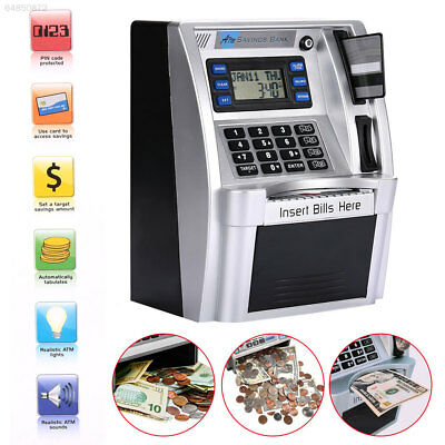 Simulation ATM Saving Piggy Banks Money Safe Boxes LCD Screen Silver Kids Gift