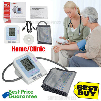 FDA CE Digital Upper Arm blood pressure Monitor+Adult BP cuff+PC Software NIBP