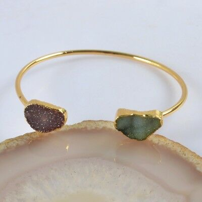 Hot Pink & Green Agate Druzy Geode Bangle Gold Plated T068648