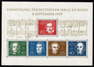 (540)  Germany Red Republic 1959 Beethoven Hall Mini Sheet SGMS1233a MNH Cat £33