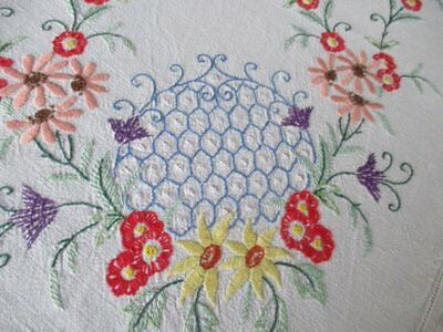 VINTAGE TABLECLOTH HAND EMBROIDERED with COLOURFUL FLOWERS-LINEN