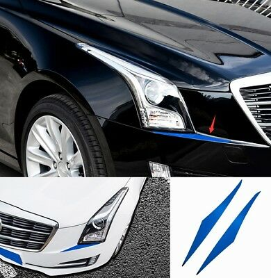 2PCS Blue Steel Car Front Headlight Sequin Trim Fit For Cadillac ATS 2014-2018