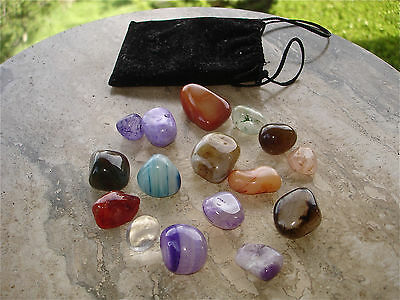 Semi-Precious Gemstones Mixed Lot of 16 Polished Stones w/Pouch For Crafts