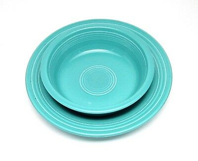 """Lot Of 2 - Vintage Fiesta Turquoise 7"""" Soup/cereal & 9"""" Soup/pasta Bowl"""