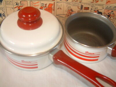 Vintage Swan small lidded enamel pan and smaller pan without lid red saucepans