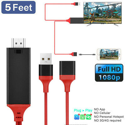 3IN1 Micro USB Type C Lightning To HDMI Cable HDTV Miorring Charger AV TV Cable