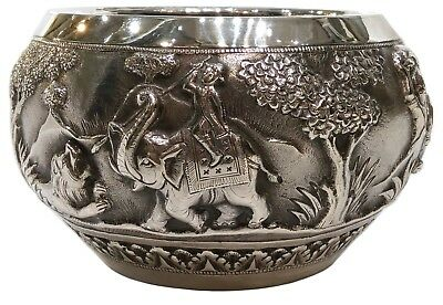 Antique Indian Silver Bowl Poona (Pune), Hunting Scenes, Early 20Th Century