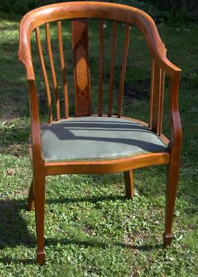 Mahogany Inlaid Desk Chair / Tub Chair (Various Pick Up Points)