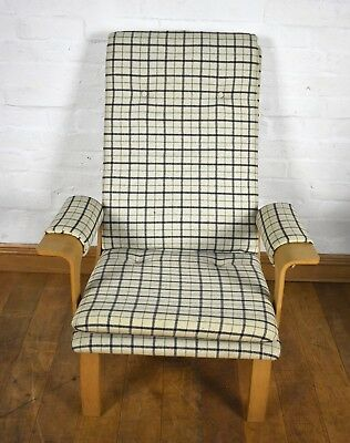 Vintage style retro Danish button check armchair - relaxer chair