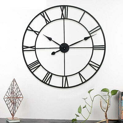 78cm Large Black Roman Numerals Metal Wall Clock Skeleton Iron Garden Outdoor