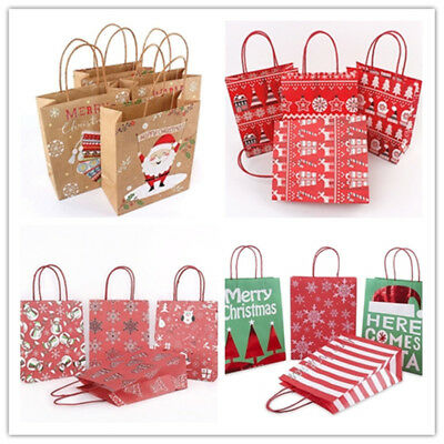 18Style Kraft Paper Carrier Present Gift Bag  Handle Christmas Festival Shopping