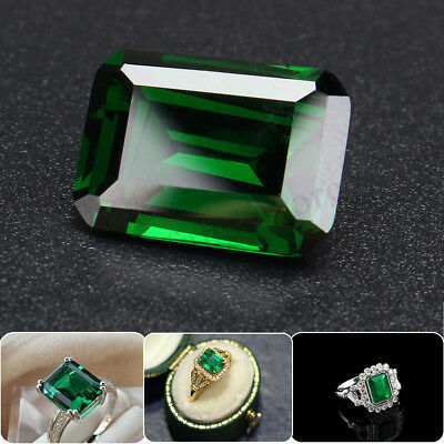 AU 20ct 12x16mm Natural Mined Rectangular Cut Green Gemstone Jewelry New