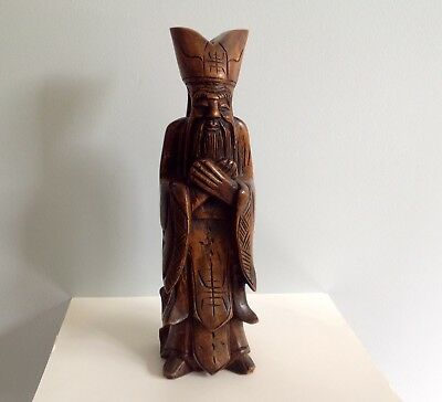 Vintage, Hand Carved, Wooden Confucius Statue