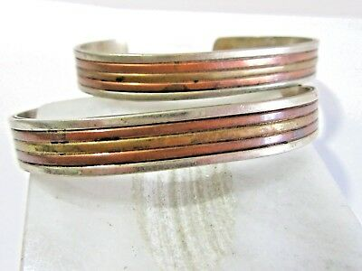 Lot Of Two Vintage Cuff Bracelets Mixed Metal Petite Brass Silver Plate Copper