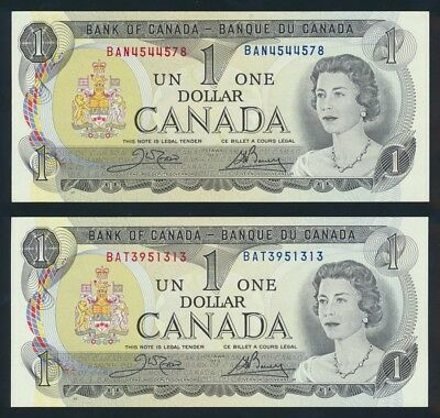 "Canada: 1973 $1 QEII Sig. Crow-Bouey LOT 2 WORD PREFIXES ""BAN & BAT"". P85c AUNC+"