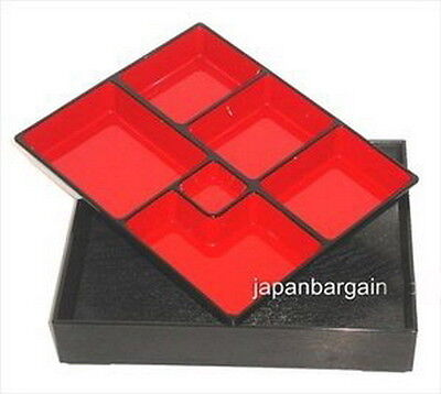 Japanese Bento Box 6 Compartmets Made in Japan #WZ12-B S-1591 AU