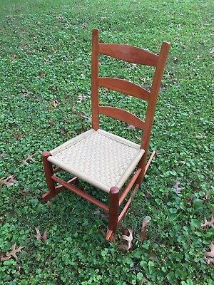 Vintage Solid Cherry Child S Rocking Chair Woven Seat