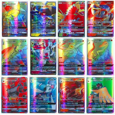 100/120PCS Pokemon Card 20 GX + 80 EX Flash Trading Cards Kids Table Game Play