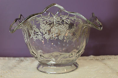 Stunning Glass Bowl With Silver Overlay Embossed With Fleur De Lis