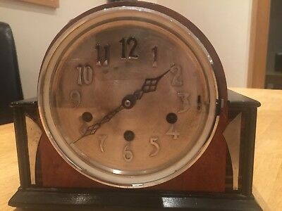 vintage wooden westminster chime mantle/ shelf clock