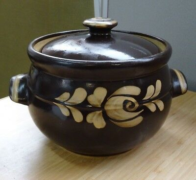 Vintage Saucepan Heavy Brown Casserole Handle Soup Veg Ceramic Lid Braised Steak
