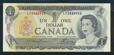 """Canada: 1973 $1 QEII Sig. Lawson-Bouey RARE LUCKY NO. """"888"""". Pick 85a UNC"""