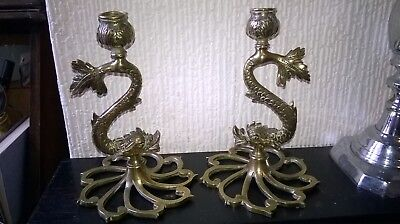 Pair Antique Candlesticks. Solid Brass/serpent Figure/romanesque/classic Design