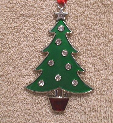 Jeweled Enamel Silver Plated CHRISTMAS TREE Ornament - NIB