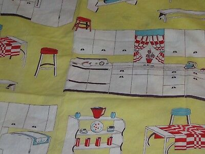 Vintage Curtain Panel Cotton Fabric Retro Pattern Kitchen Cutter