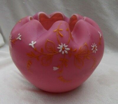 Beautiful Antique Pink Satin Glass Art Glass Rose Bowl w Hand Painted Flowers