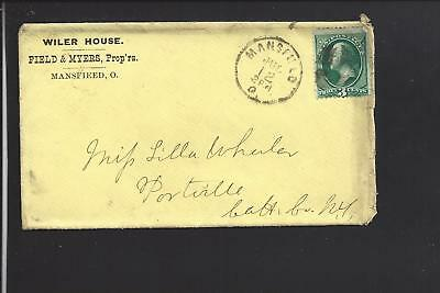 Mansfield, Ohio, 3Ct Banknote Cover Advt.  Wiler House, Hotel, Richland Co. 1811