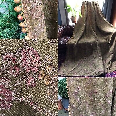 "Antique French Chateau Brocade Curtain c1880s Passmentarie timeworn 100""/108"""