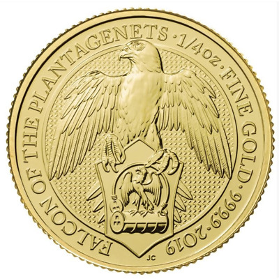2019 U.K. 25 Pound 1/4 oz Gold Queen's Beast Falcon of the Plantagenets BU