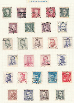 Czechoslovakia.  Mix 40 Stamps, Used , On Two Album Pages Lot G