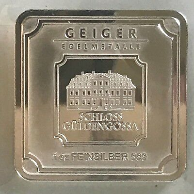 Geiger Edelmetalle 1 Oz .999 Silver Square Bar Unique Art Bar Proof Like - New!
