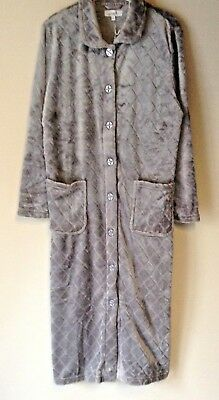 New Ladies Warm Fleece Button Through Dressing Gown Housecoat*2 Colours* Pockets