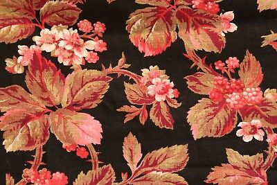 2 Antique French cotton floral pieces berries leaves Great Winter colors c 1870
