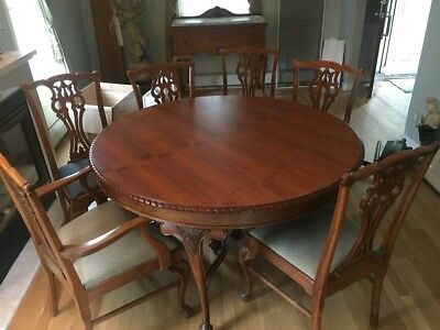 Used Walnut Dining Room Set Chairs Table Buffet Marble Antiue Vintage Furniture