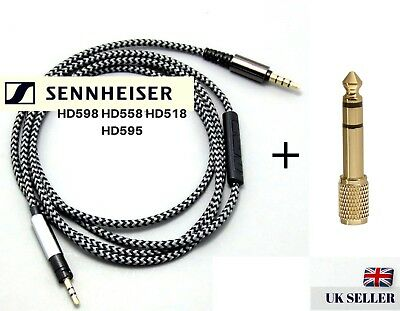Replacement Audio Cable for Sennheiser HD598 HD558 HD559 HD569 HD579 w/ Mic