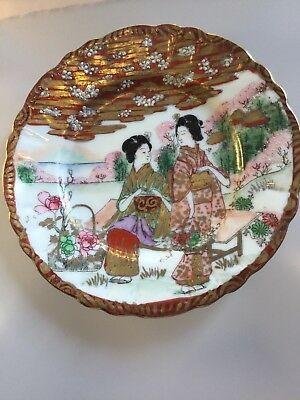 Antique Japanese  Satsuma Hand Made Art Porcelain Ceremonial Plate signed 6in
