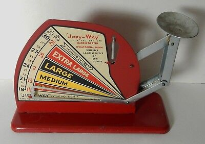 Vintage Jiffy Way Owatonna Minnesota Metal Egg Scale