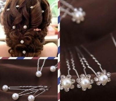20Pcs Wedding Bridal Pearl Flower Crystal Hair Pins Clips Bridesmaid for Women