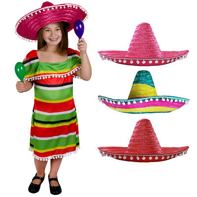 Childs Mexican Dress With Sombrero Red Pink Multi Wild West Girls Fancy Dress